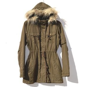 Faux Fur Hooded Utility Jacket Size Small